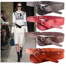 Western Cow Leather Pin Buckle Adjustable Women Cummerbunds Fashion Genuine Leat