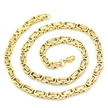 2.5mm 4mm 5mm 6mm 7mm 8mm Men Chain Silver and Gold Tone 316 Stainless Steel 22inch Byzantine Box Link Necklace chain