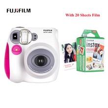 كاميرا Fujifilm Instax Mini7s كاميرا فورية فيلم كاميرا + 20 50 ورقة Fujifilm Instax فيلم مصغر 8 Mini 9 Mini7s فيلم هدية