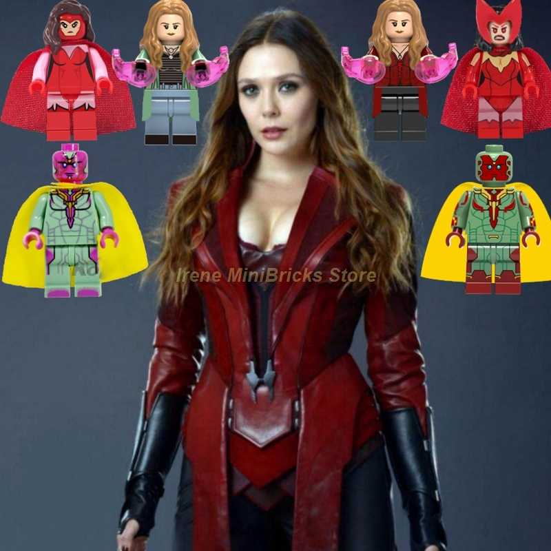 Scarlet Witch Vision Hawkeye Quicksilver Spiderman Avengers Endgame Thanos Super Heroes Building Blocks Captain Marvel