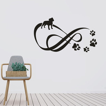 Infinity With Pet Paw Dots Wall Decals Dogs Paws Vinyl Stickers Pets Salon Decor Removable Pets Footmark Wall Mural