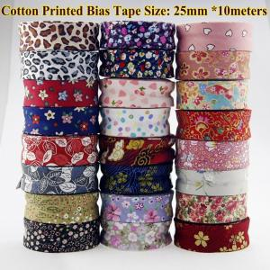 "Image 2 - Free shipment  100% Cotton Bias tape printed, size: 25mm,1"" 10meter printed flowers Cotton twill Bias binding tape DIY sewing"
