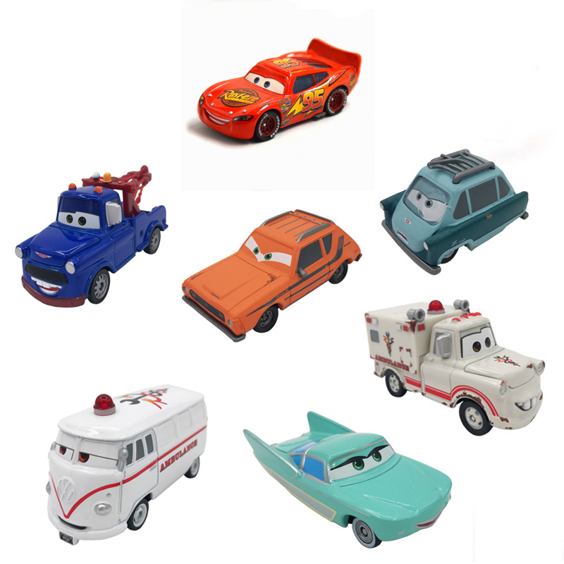 7cm Cars Disney Pixar Cars Ramirez Lightning McQueen Racing Family Diecast Metal Alloy Toy Car For Kids Toy Boy Gift No Remote