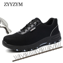 ZYYZYM Men Work Safety Boots Plus Size 36-46 Unisex Indestructible Steel Toe Protect Puncture Proof Protective Shoes