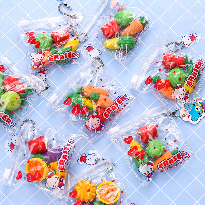 Cartoon Cute Food Rubber Bag Rubber Eraser Children Learning Stationery Primary School Kindergarten Reward Gift