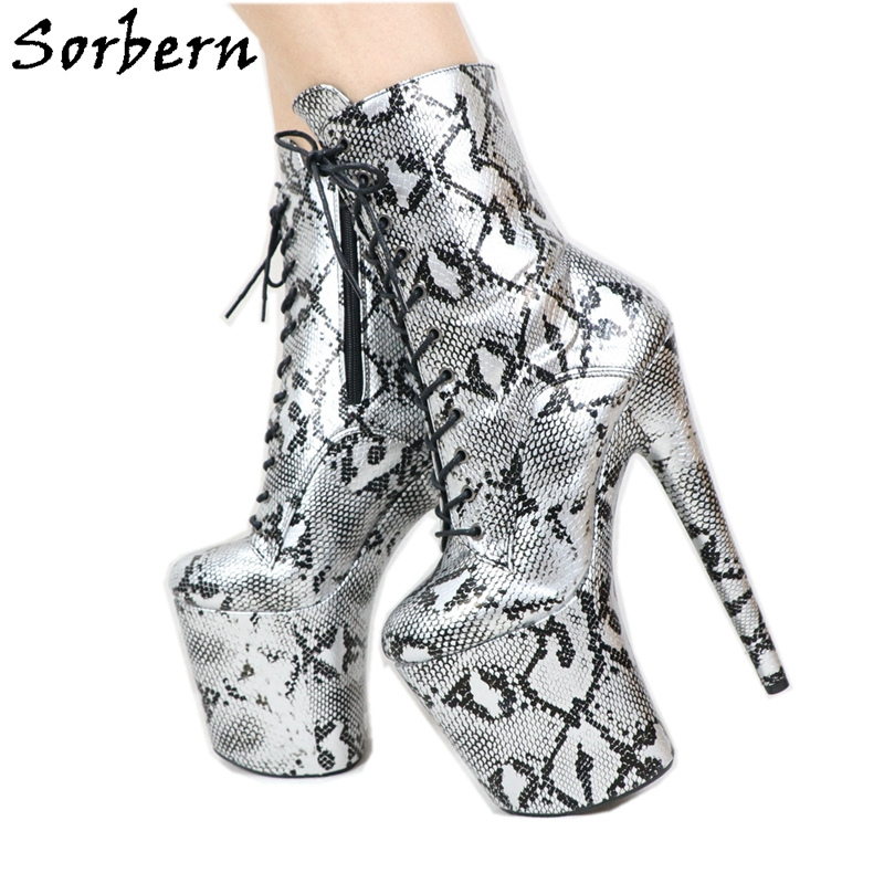 Sorbern Snake Print Boots Lace Up Pole Dance High Heel 8 Inch Heels Ankle Booties Block Heel Boots Ladies Inside Zippper Gothic