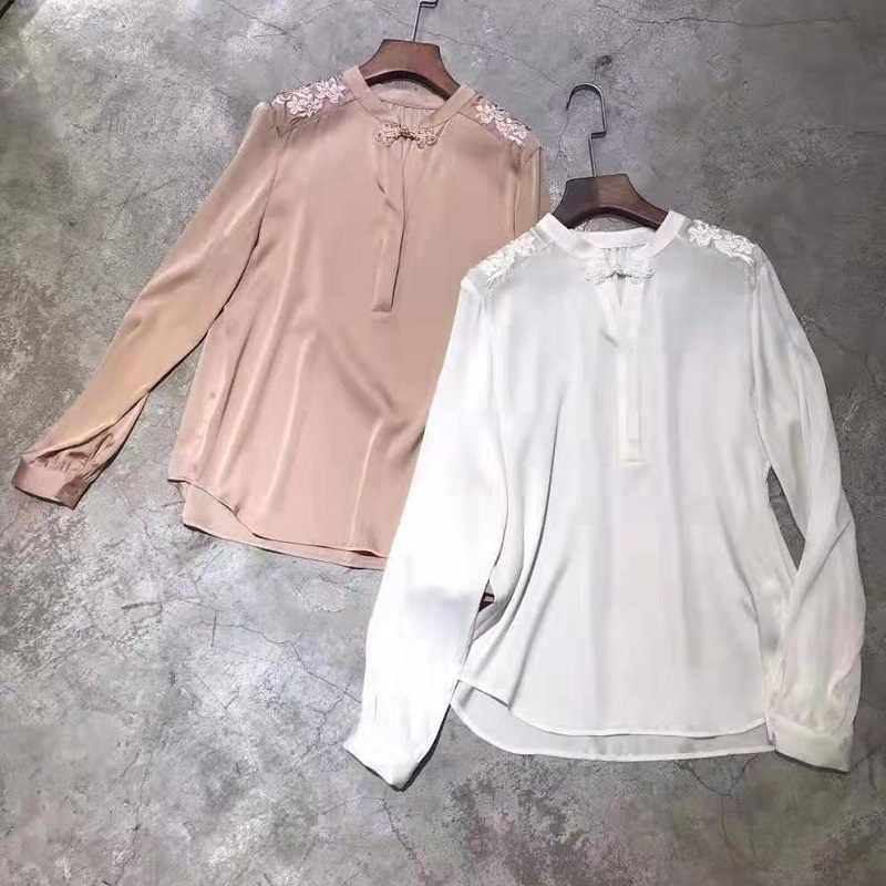 Высококачественная шелковая блузка Рубашки 2019 осенние белые розовые блузки женские роскошные вышитые с длинным рукавом элегантные блузы женские топы