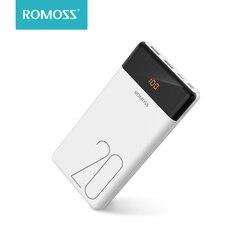 20000mah romoss lt20 power bank dupla usb powerbank bateria externa com display led rápido carregador portátil para xiaomi para iphone