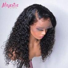 13x4 rizado profundo frente de encaje pelucas de cabello humano rizado brasileño pelucas de cabello humano Pre arrancado Peluca de encaje con el bebé de la onda profunda del pelo de la peluca
