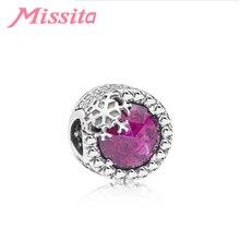 MISSITA Fashion Snowflake Purple Crystal Charm fit Pandora Bracelet Pink CZ DIY Jewelry Women Silver Jewelry Accessories adjustable 19 3 cm women s fashion jewelry pink crystal bracelet for women fit pandora gold bracelet handmade jewelry sbr150331