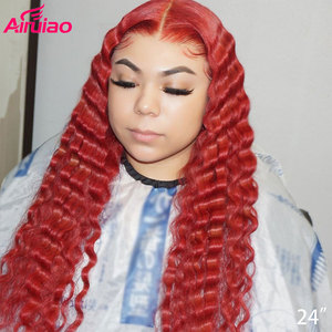 Ombre Colored 13x6 Lace Front Human Hair Wigs Deep Wave Orange Ginger Wig Red 99j Burgundy Lace Front Wigs for Black Women Remy(China)