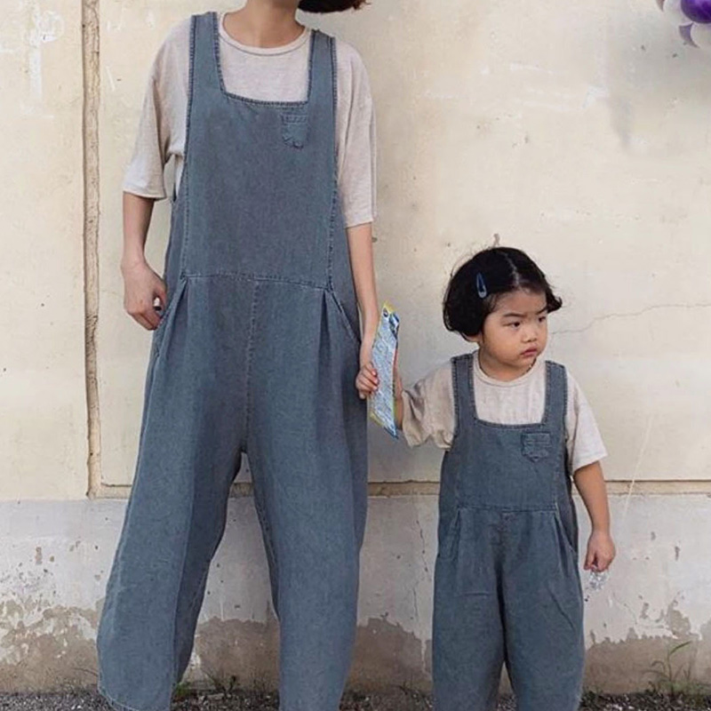 MILANCEL Family Clothes Loose Style Mother And Kids Clothes Denim Overalls For Family Outfit