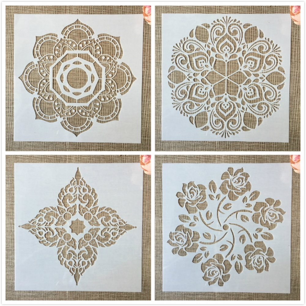 4Pcs/Set 30*30cm Big Flower 12inch Mandala DIY Layering Stencils Painting Scrapbook Coloring Embossing Album Decorative Template