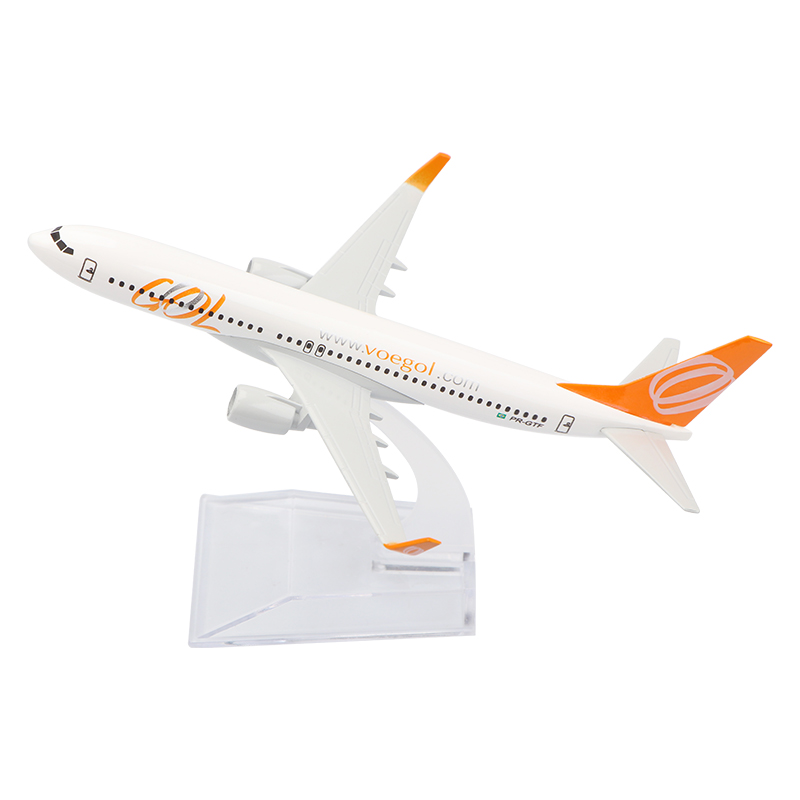 16cm Alloy Metal Model Plane Brazil Air GOL Airlines Boeing 737 B737 800 Airways Aircraft Airplane Model w Stand Gift image