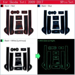Для Skoda Yeti 2009 ~ 2017 противоскользящие резиновые ворота слот чашки коврик аксессуары Автомобильные наклейки 2010 2011 2012 2013 2014 2015 2016