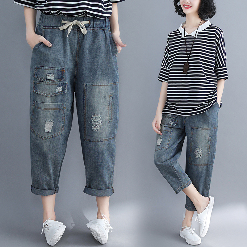 Photo Shoot 2018 Spring And Summer New Style Loose And Plus-sized Literature And Art With Holes Jeans Elastic Waist Large Pocket