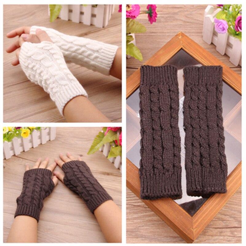 New Design Women Wool Gloves Mitten Warm Fingerless Gloves Hand Warmer Winter Women Arm Crochet Knitting Faux Gloves Gants Femme