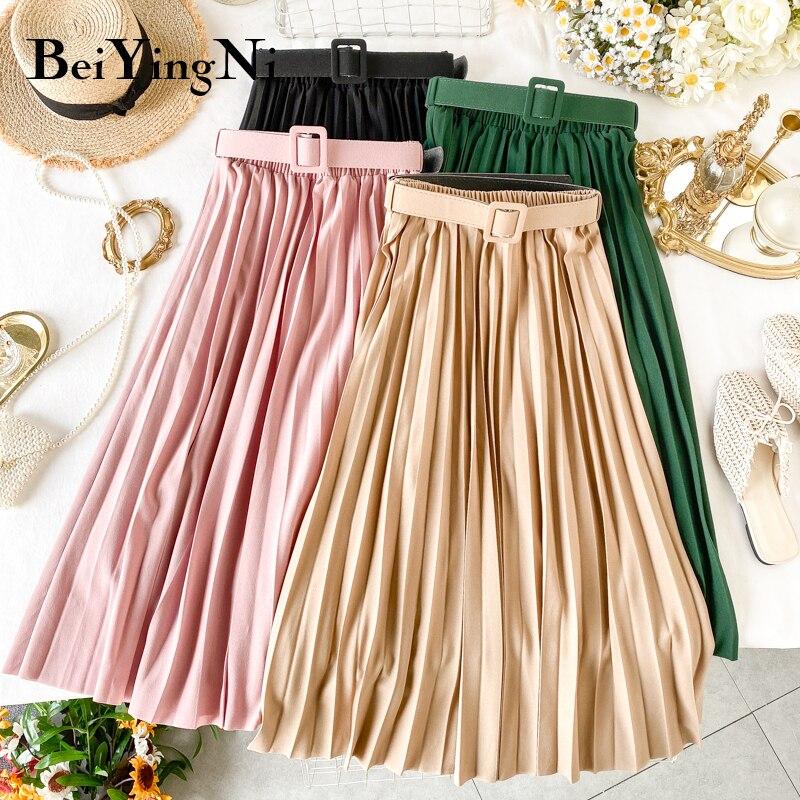 Beiyingni Korean Style Pleated Midi Skirt Women Casual New Fashion High Elastic Waist Skirts Black Pink Elegant Skirt Belt Saias