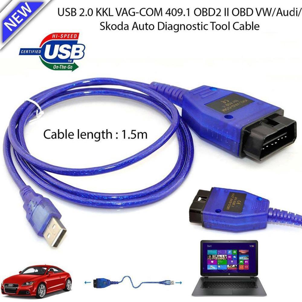 Auto Cable USB KKL VAG-COM 409,1 OBD2 II OBD WINDOWS 98/ME/2000/NT y XP escáner de diagnóstico V W Vag-Com interfaz