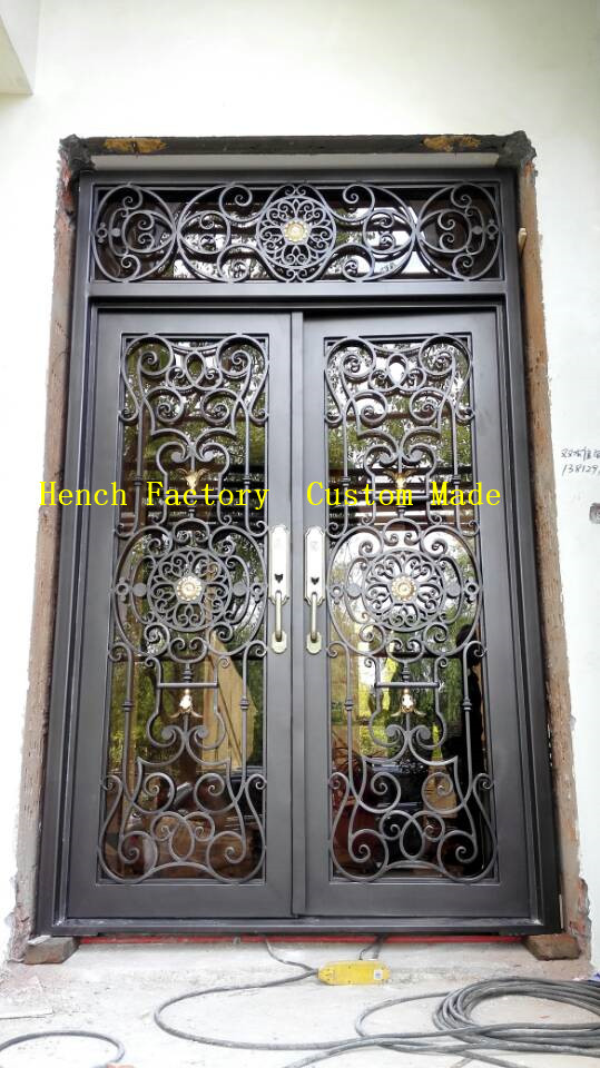 Shanghai Hench Brand China Factory 100% Custom Made Sale Australia Wood Door With Ironwork