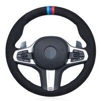 DIY Black Genuine Leather Suede Car Steering Wheel Cover for BMW M Sport G30 G31 G32 G20 G21 X3 G01 X4 G02 X5 G05 G14 G15 G16