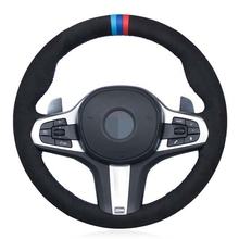 DIY siyah hakiki deri süet araba direksiyon kılıfı BMW M spor G30 G31 G32 G20 G21 X3 G01 X4 G02 x5 G05 G14 G15 G16