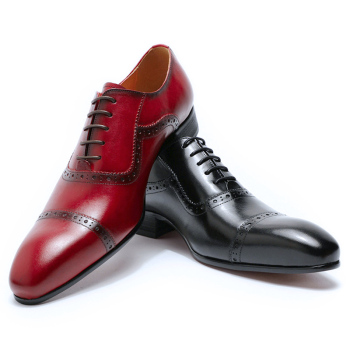 Luxury Men Oxford Shoes Men Dress Shoes Italian Red Black Hand-polished Pointed Toe Lace up Wedding Office Formal Leather Shoes pointed toe lace up oxford men shoes high heels embossed leather luxury party shoes brand design height increasing wedding shoes