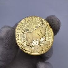 Ano de boi ouro moeda austrália lunar ano novo presentes touro gado sorte lembranças comemorativas presentes feliz natal
