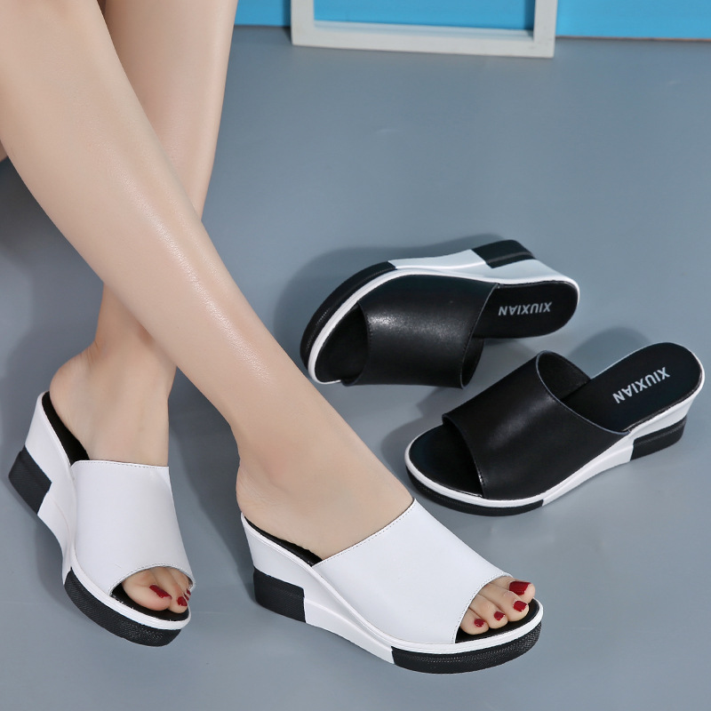 Summer New Style Fashion Genuine Leather Slanted Heel Women's Sandals Thick Bottomed Sandals Platform Sandals Women's Sandals A-