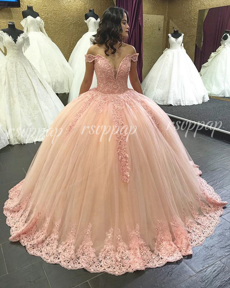 Luxury Long Quinceanera Dresses 2019 Puffy Princess Gown V-neck Cap Sleeve Sweet 16 Party Beaded Pink 15 Year Quinceanera Dress