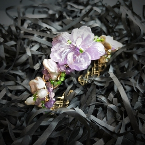 Image 5 - Lii Ji Genuine Amethysts Diopside Freshwater Pearl Bracelet Handmade Jewelry Open Bangle  For Women Gift Drop Shipping