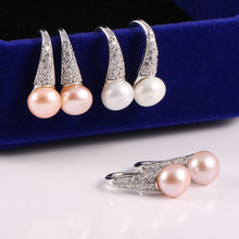 Fashion 100% Genuine Freshwater Pearl 7-8 mm Crystal Stud Earrings Jewelry Gift for Women Super Deal