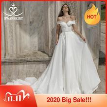 Stunning Weg Von Schulter Hochzeit Kleid Swanskirt Schatz Kristall A Line Braut gewachsen Prinzessin Angepasst vestido de noiva DY01