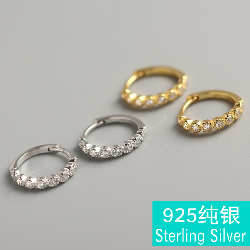 Spiral pure silver ear clip S925 sterling zircon geometric round earrings gold mix and match wind