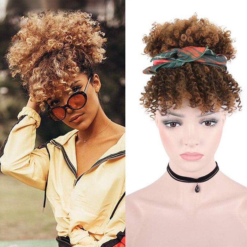 Extensão de cabelo curto afro, rabo de