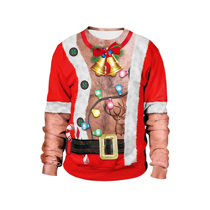 Chest Hair Print Casual Unisex Santa Mens Pullover Christmas Sweater Autumn Winter Novelty Male Tops Ugly Christmas Sweater