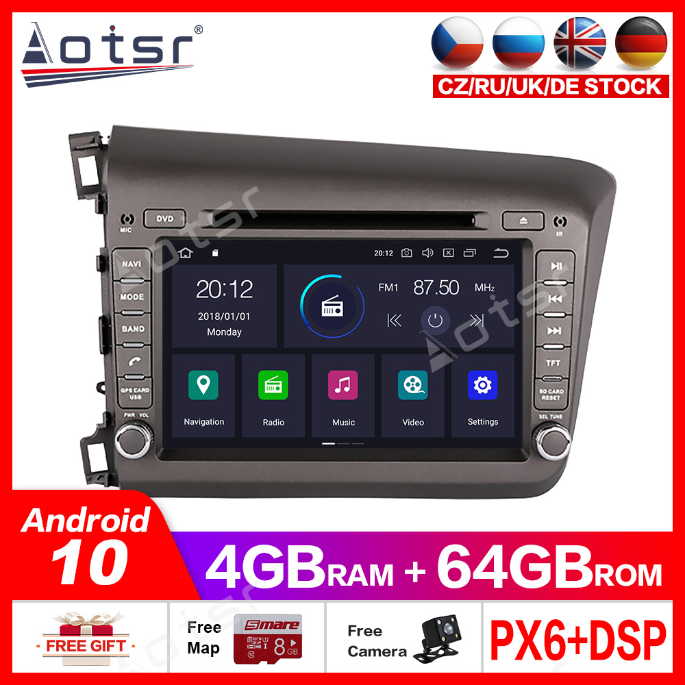 For Honda Civic 2012-2015 <font><b>Car</b></font> Multimedia Radio Player Stereo Screen <font><b>Android</b></font> 10.0 DSP 7 inch IPS screen <font><b>Audio</b></font> GPS Navi head unit image