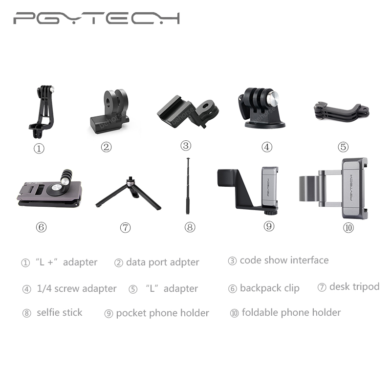 Optional PGYTECH For DJI OSMO POCKET Adapter Mount Holder Clip Selfie Stick Tripod Gimbal Protector Action Camera Gimbal