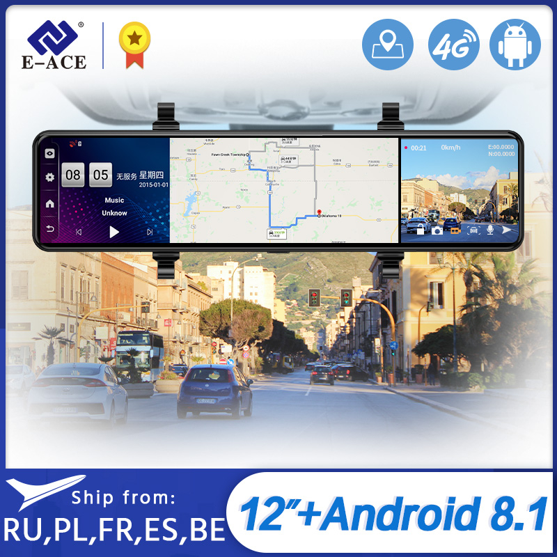 "E-ACE D15 12"" 4G Android 8.1 Car DVR Rearview Mirror Dash Cam GPS Navigation ADAS Video Recorder DVRS support 1080P Rear Camera"
