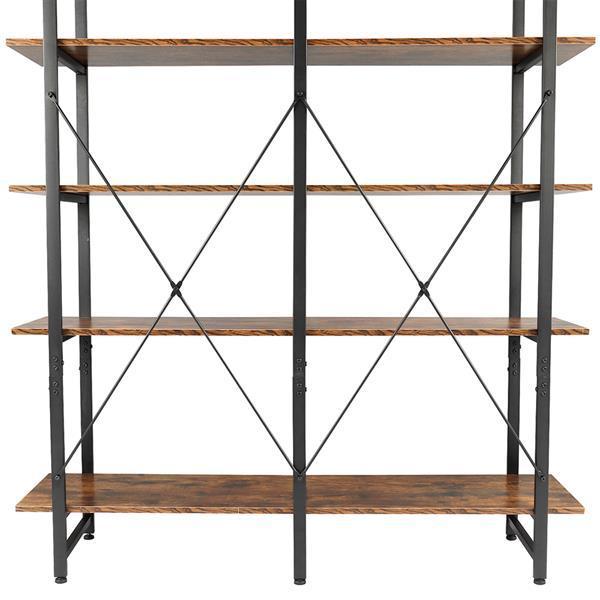 Double Wide Industrial 5-Tier Open Bookcase Shelves 6