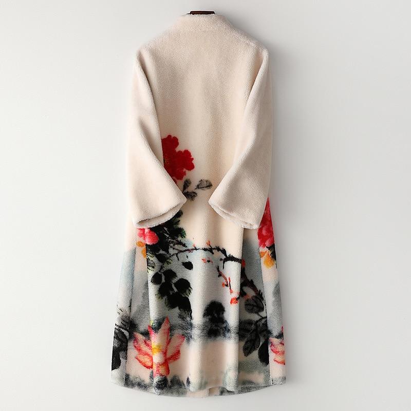 Fashion Fox Fur Collar Wool Fur Coat Printed Pockets Long Winter Coat High Quality Outwear Luxury Overcoat Thick Warm Outwear
