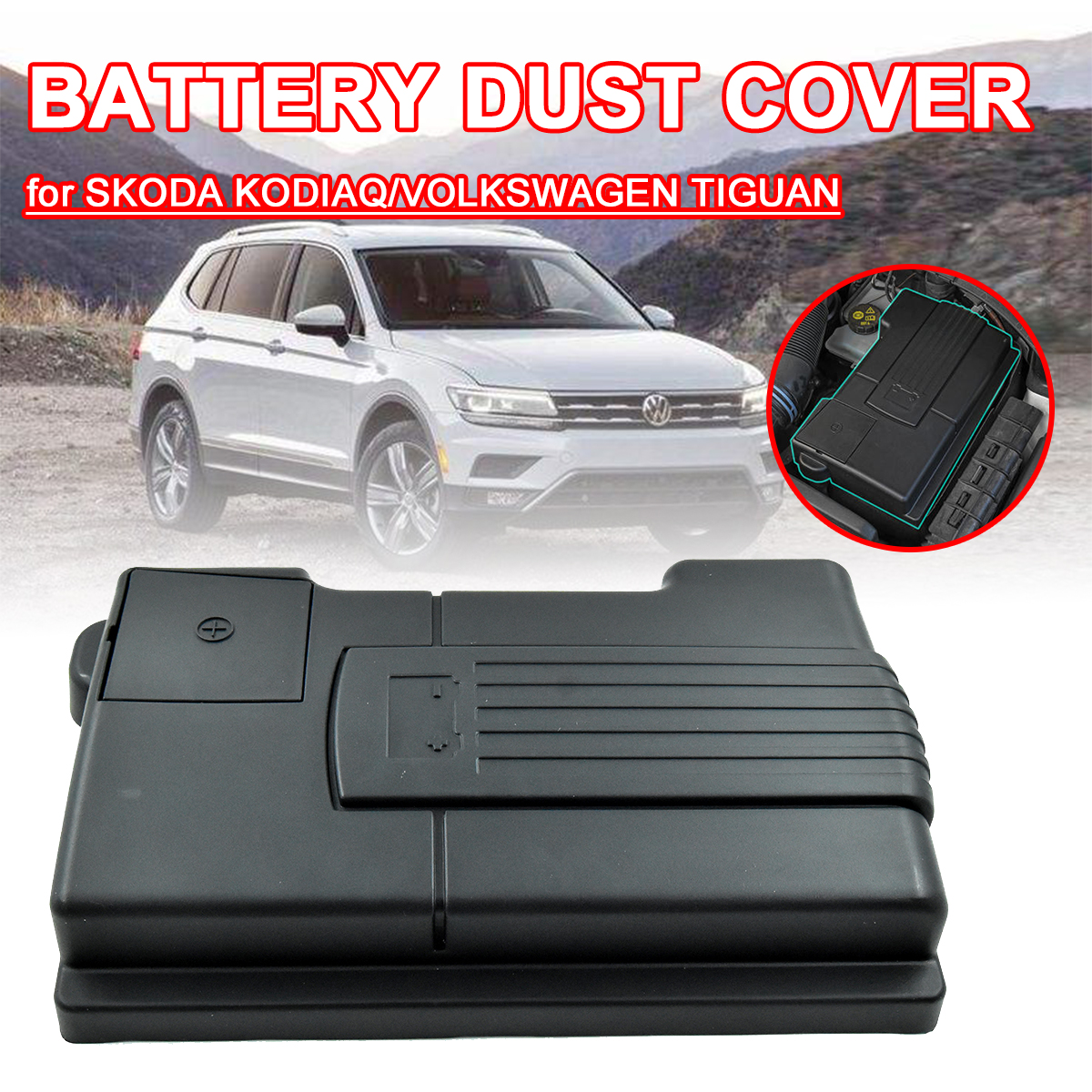 Engine Battery for Skoda Kodiaq Octavia 5E A7 VW Tiguan L 2016 - 2019 Dustproof Protective Cover Negative Electrode Waterproof image
