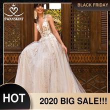 Swanskirt見事なビーズのウェディングドレス2020 vネックアップリケaラインの背中イリュージョン王女の花嫁のガウンvestidoデ · ノビアF263