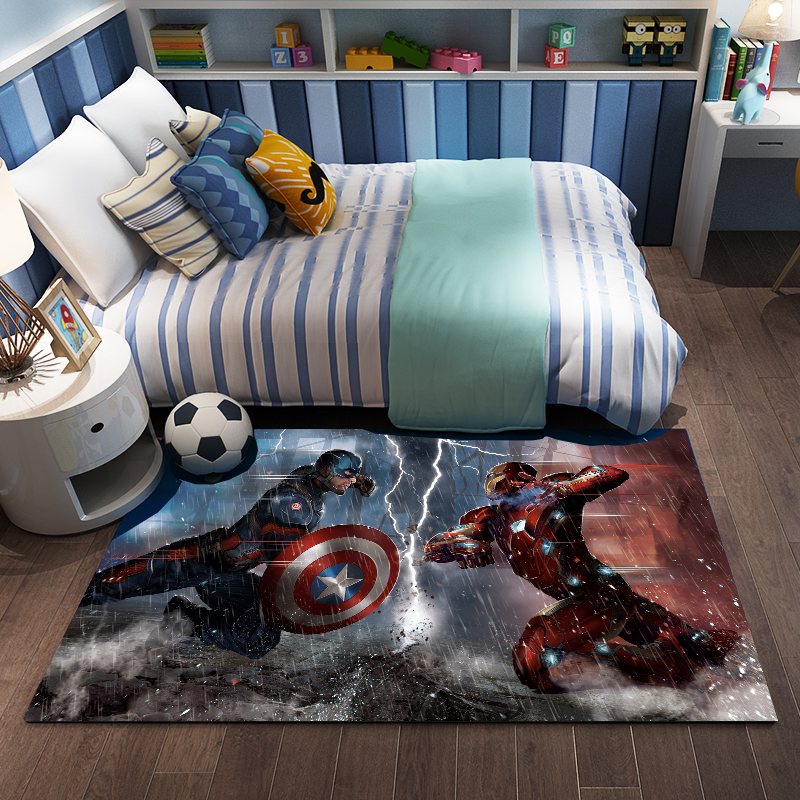 New Kids Playmat US Captain/The Avenger Thick Carpet Mat For Living Room Doormat Resin 3D Print Bedroom Non-slip Floor Rug