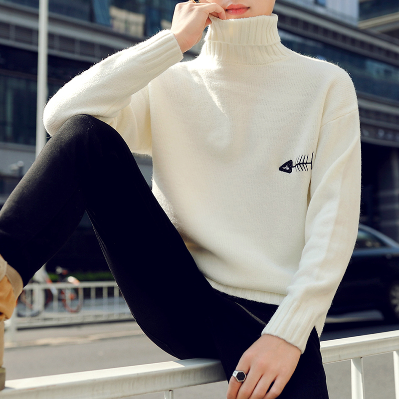 2019 New Winter Thick Warm Cashmere Sweater Men Turtleneck Printed Mens Christmas Sweaters High Quality Fashion Men's Pullovers-in Pullovers from Men's Clothing