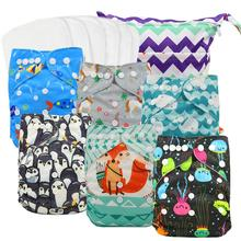 Reusable Washable Baby Cloth Pocket Diapers Animals Print Nappies Diaper Size Adjusted with Wet Bag