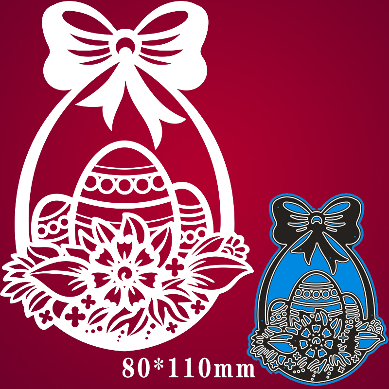 80*110mm Christmas Basket With Eggs Metal Cutting Dies For Card DIY Scrapbooking Stencil Paper Craft Album Template Dies