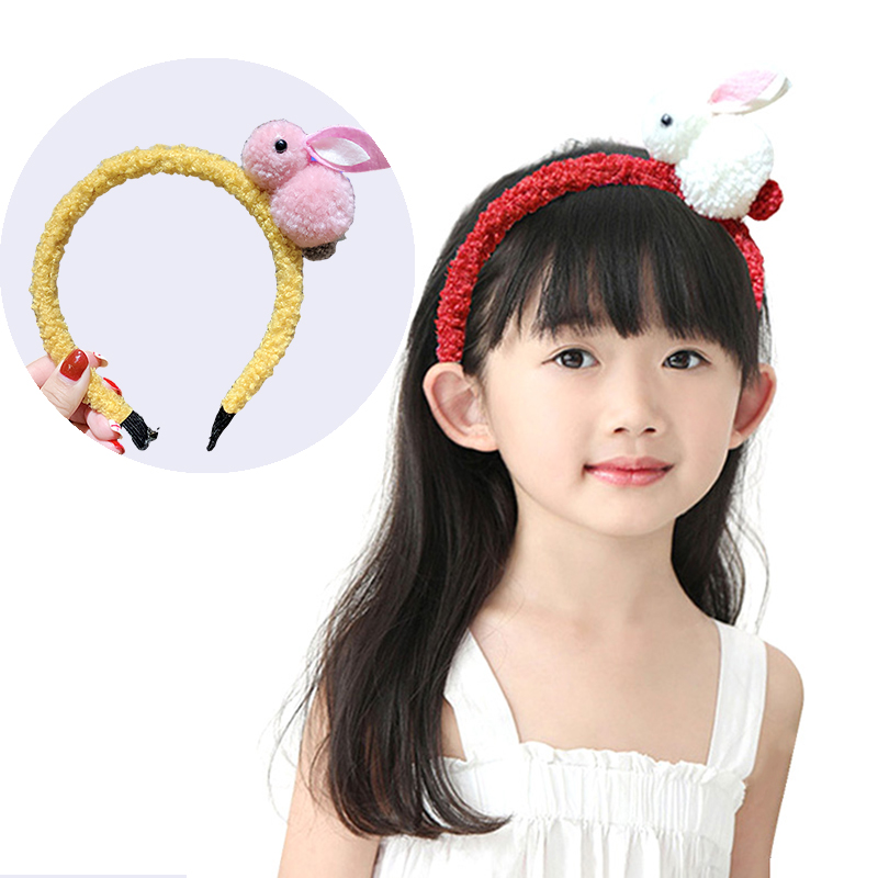 Kids Girls Hairhoop Hairband Cute Bunny Plush Ball Hair Hoop Bands Princess Hair Decoration Gift For Children Headwear