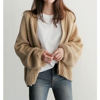 цена Women's Autumn Loose Short Knit Cardigan Sweater Jacket Sweaters Cardigans Cropped Cardigan Long Cardigan Oversized Cardigan онлайн в 2017 году