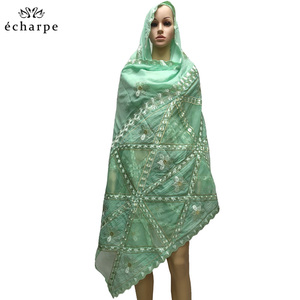 Image 2 - New fashion design Muslim headscarves and long scarf type geometrical design scarf made of pure cotton and comfortable EC108
